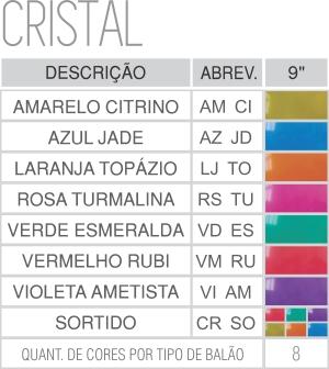 Tabela de cores cristal